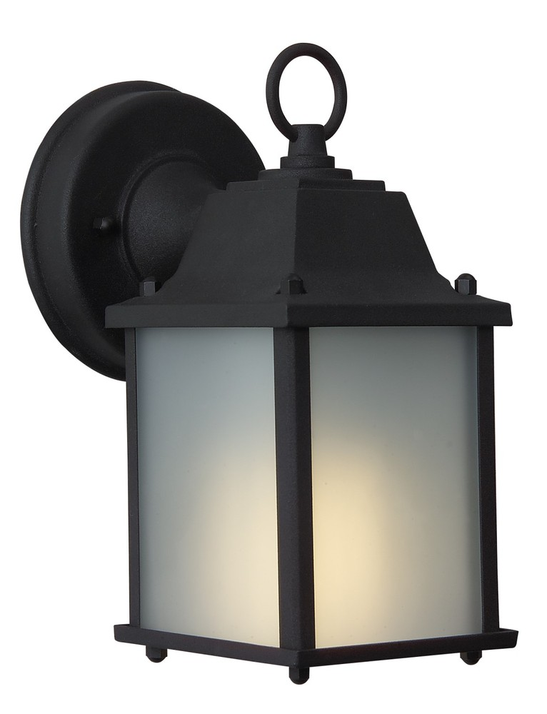One Light Matte Black Frosted Glass Wall Lantern