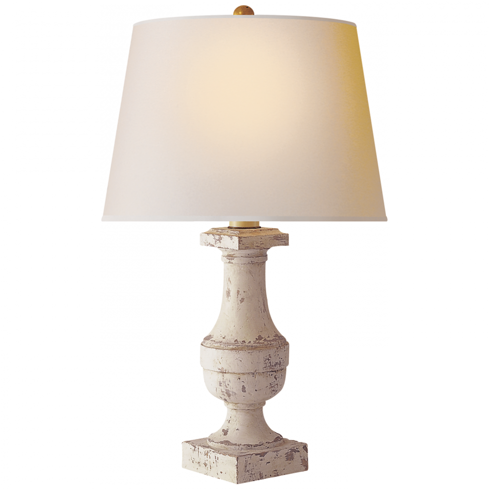 Round Medium Balustrade Table Lamp in Old White