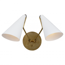Visual Comfort ARN 2059HAB-WHT - Clemente Double Sconce in Hand-Rubbed Antique Br