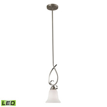 Thomas 1001PS/20-LED - Brighton 1-Light Mini Pendant in Brushed Nickel with White Glass - LED