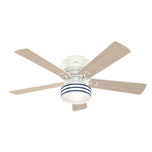 "Hunter 55079 - Cedar Key Collection - 52"" Low Profile Fresh White, ETL Damp"