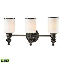 ELK Lighting 11592/3-LED - Bristol 3-Light Vanity Lamp in Oil Rubbed Bronze with Opal White Blown Glass - Includes LED Bulbs